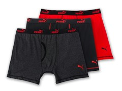 PumaBoxer Briefs  3-Pack, Grey/Red