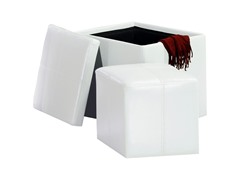 Faux Leather Cube Storage Ottoman - White