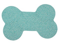 Turquoise Dog Bone Houndstooth Rug - 3 Sizes