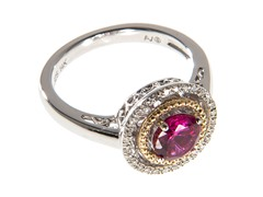 Silver & 14k Gold Ruby Ring