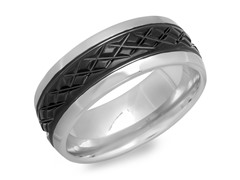 SS Band Ring w/ Black IP X Accent