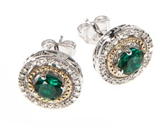 Silver & 14k Gold Emerald Earrings