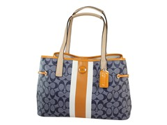 Coach Signature Stripe Carryall, Nvy/Orange