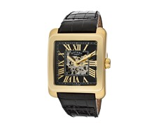 Men's Automatic See Thru Dial Black Leather Watch