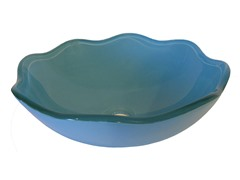 Flower Shape Glass Vessel Sink, Blue