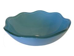 Flower Shape Glass Vessel Sink, Blue