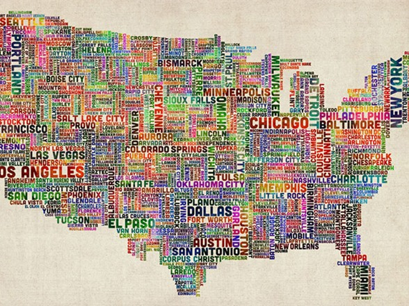 US Cities Text Map VI X Canvas - Us map canvas