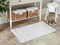 Plush 100% Cotton Bath Mat-White-21x34