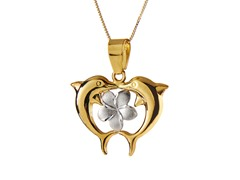 10kt Gold & Silver Dolphin Heart Pendant