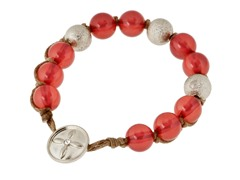 Relic Pink Bead Bracelet, Silver