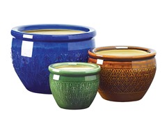 Gifts & Decor Jewel Tone Flower Pot Trio Embossed