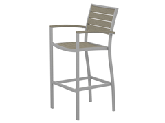 Euro Bar Chair, Silver/Sand