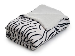 Fleece Blanket w/ Sherpa Backing- Zebra