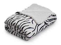 Fleece Blanket w/ Sherpa Backing- Zebra