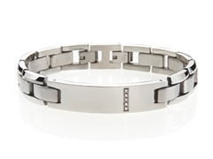 Stainless Steel and CZ ID Bracelet