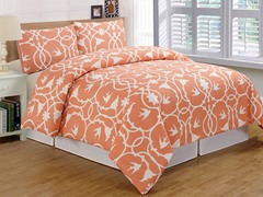 Kierra Printed Duvet Set-Bright Coral-2 Sizes