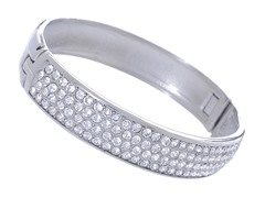 Stainless Steel Bangle w/ 4 Rows Of Swarovski Crystals