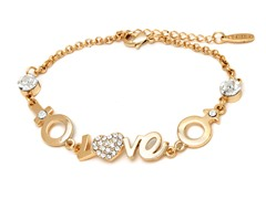 Gold Swarovski Elements Script Love Heart Bracelet