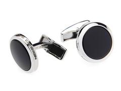 Sterling Silver Round Cufflinks, Onyx