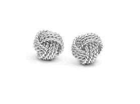 Sterling Silver Love Knot Stud Earrings