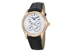 Women's Bressel 18K Rose Gold White Dial Black Leather