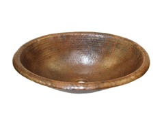 Rolled Oval Copper Bath Sink, Antigua