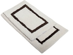 Border Bath Rug-Chocolate-Set of 2