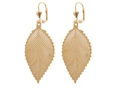 18k Plated Hanging Leaf Earring