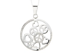 Peace & Love Pendant w/ Cable Link