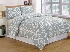Kierra Printed Duvet Set-Soft Blue-2 Sizes