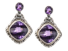 18kt Gold Accent Amethyst Square Earring