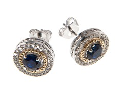 Silver & 14k Gold Sapphire Earrings