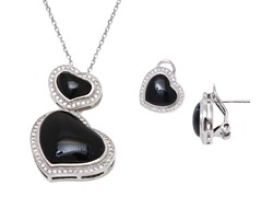 Black Onyx Gemstone Earrings & Pendant