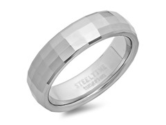 Tungsten Band Ring w/Square Shape