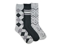 MUK LUKS ® Men's 3 Pair-Pack Crew Socks, Grey