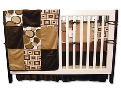 Bubbles Brown Crib Bedding Set 4-Piece