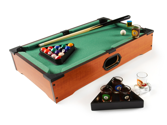 Game Night Glass Tables: Tabletop Pool Shot Glass Game