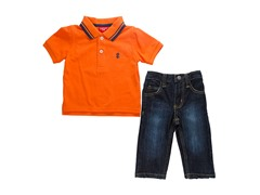 2-Pc Orange Polo S/S Sets - Twill (12M-24M)