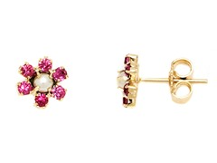 18K GP Pink Crystal and Pearl Bead Flower Stud