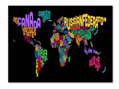 World Text Map Canvas Art