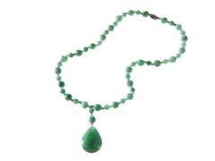 Sterling Silver Jade Bead & Drop Necklace