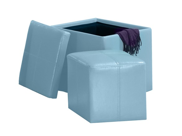 Faux Leather Cube Storage Ottoman Blue Kids Toys