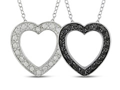 0.25cttw Black Diamond Heart Pendant with Chain