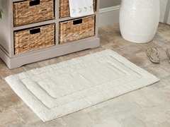 Plush 100% Cotton Bath Mat-Natural-27x45