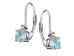 SS Blue Topaz Gemstone w/Diamond Leverback Earrings