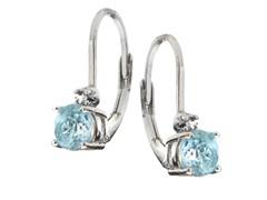 SS Blue Topaz Gemstone w/Diamond Leverback Earrings