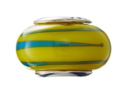 Yellow & Blue Lined Glass Bead