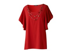 Star Vixen Top with Silver Necklace, Red