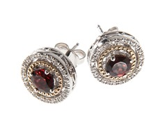 Silver & 14k Gold Garnet Earrings