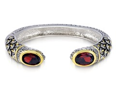 Regal Jewelry 18K Gold-Plated Simulated Garnet Bangle With Design